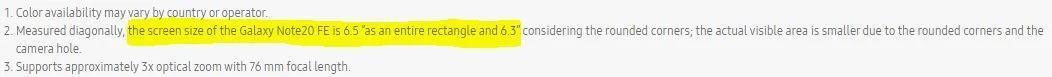 سامسونگ سهوا به گلکسی نوت 20 FE اشاره کرد